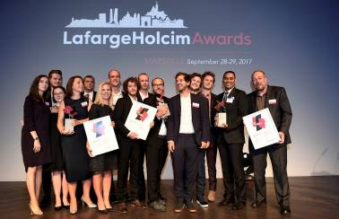 Winners of the regional LafargeHolcim Awards Europe in 2017: Gold ex-aequo from Belgium and Bronze from the United Kingdom celebrate their recognition in the world's most significant competition for sustainable design.