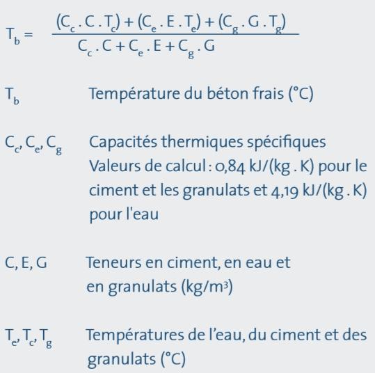 calcul de la temperature du beton frais