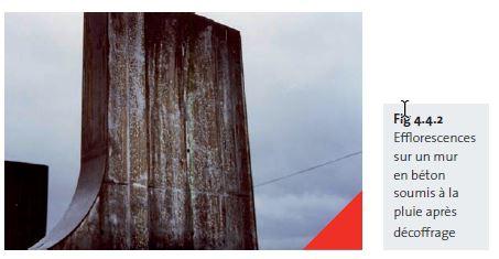 Fig 4.4.2 Efflorescences sur un mur en béton soumis à la pluie après décoffrage - fr