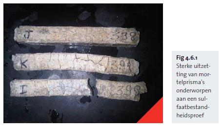 Sterke uitzetting van mortelprisma's onderworpen aan een sulfaatbestandheidsproef