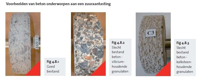 Voorbeelden van beton onderworpen aan een zuuraantasting