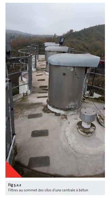 Filtres au sommet des silos d'une centrale à béton