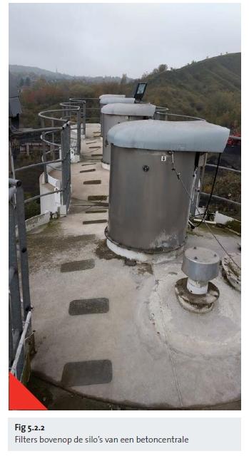 Filters bovenop de silo's van een betoncentrale